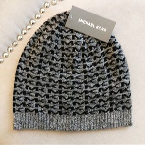 Men's Michael Kors Gray And Black Monogram Beanie